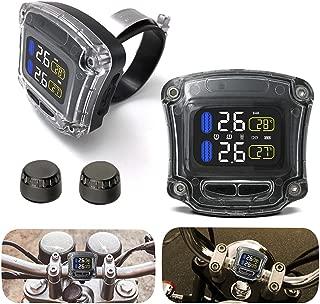 Elliot Jonah Motorcycle TPMS Tyre Pressure Monitoring System with 2 Sensors Motorbike Handlebar Waterproof LCD Display