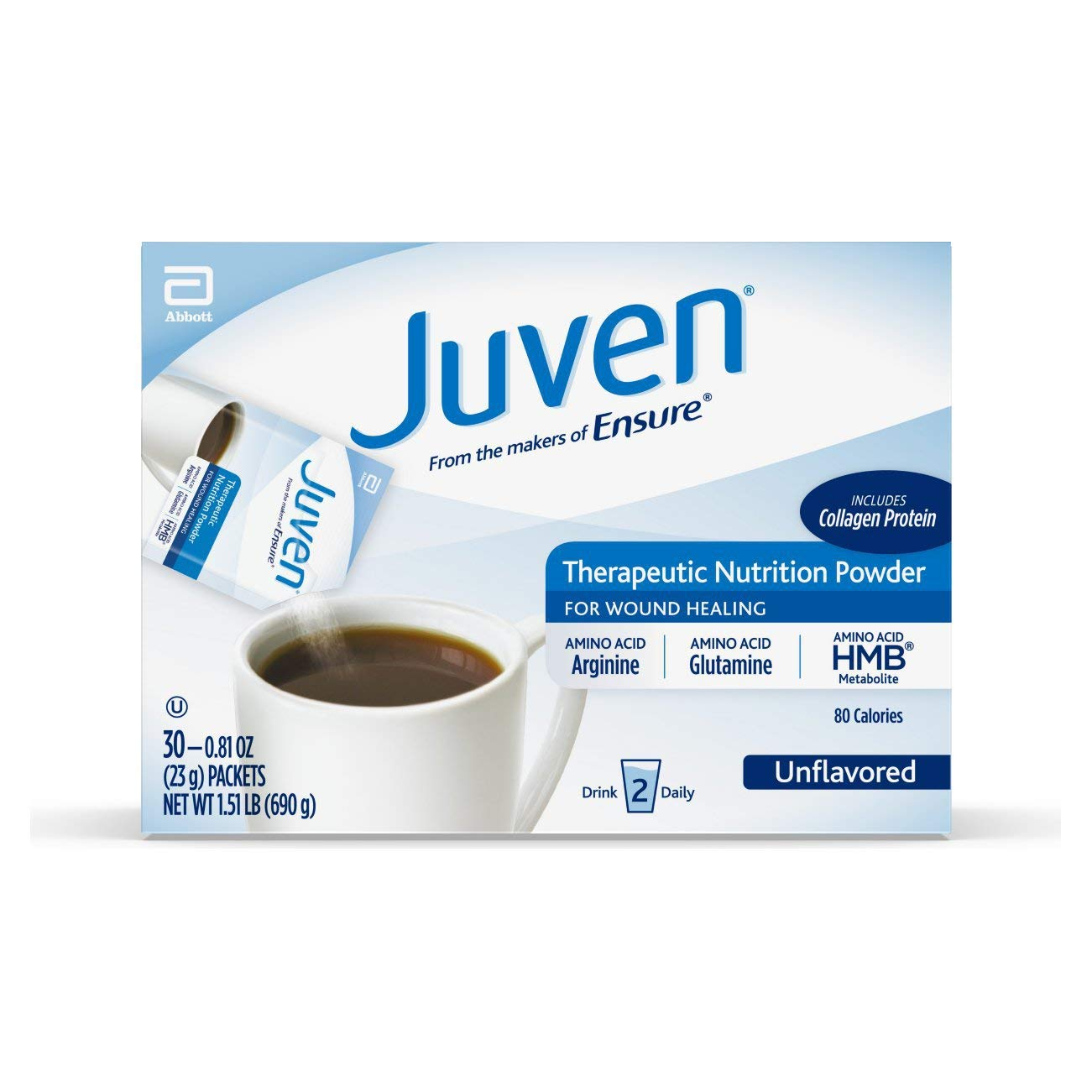 Juven Therapeutic Nutrition Drink Mix Powder for Wound Healing Support, Includes Collagen Protein, Unflavored, 30 Count