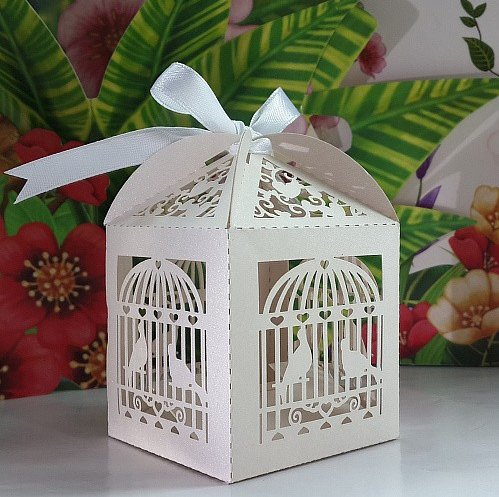 Krismile New Arrival 50 pcs White Bird Cage Laser cut Wedding Candy Box Favor Box Party favor Box