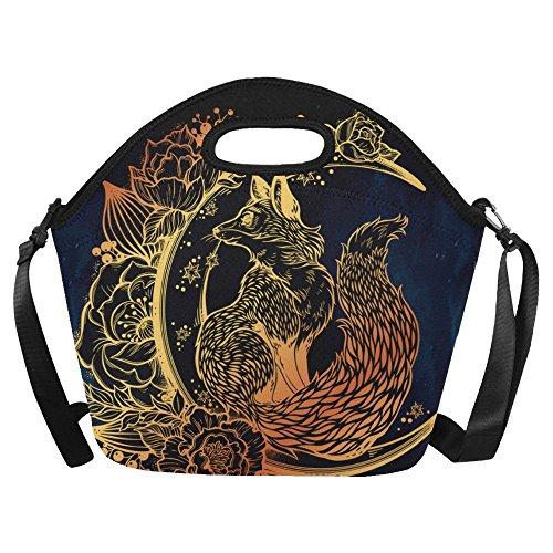Lunch Tote Bag Gold Fox Animals Portable Lunchbox Handbag Navy Blue