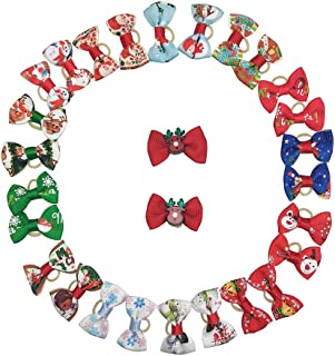 CSPRING 28PCS/14Pairs Mix Styles Cute Puppy Dog Hair Bows Topknot Small Pet Grooming Products with Rubber Bands for Christmas Decorations