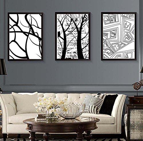 Eenvoudige drievoudige decoratieve schilderkunst, geometrische abstracte drieluik, woonkamer slaapkamer massief hout muur frame schilderijen, achtergrond schilderen muur combinatie