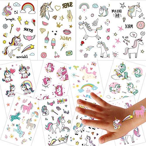 12 Hojas Unicornio Tatuajes Temporales, Ouinne Falso Tatuajes Pegatinas Fiestas Infantiles Cumpleaños de Niños Regalo