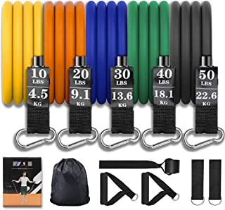 Allfourior Workout Resistance Bands Set with Handles (11pcs) – Include 5 Stackable Exercise Bands with Door Anchor Foot St...