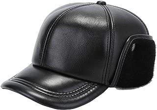 Men's Sheepskin Aviator Baseball Cap Genuine Leather Fleece Winter Ear Flaps Hunting Trapper Bomber Cap