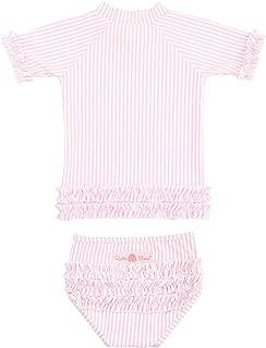 Baby/Toddler Girls Seersucker Rash Guard 2-Piece Short Sleeve Swimsuit Set with UPF 50+ Sun Protection