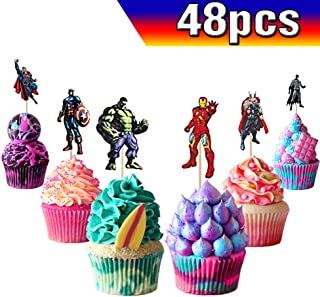 Superhero Cupcake Toppers Avengers Cupcake Toppers Superhero Cake Toppers 48PCS, Superhero Happy Birthday Party Supplies Cake Decorations for Superhero fans, Kids Birthday Party