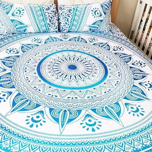 Sophia Art Twin Multi Couleur Bleu ombré Mandala Parure de lit Housse de Couette Hippie Bohème Doona Coque avec taie d'oreiller