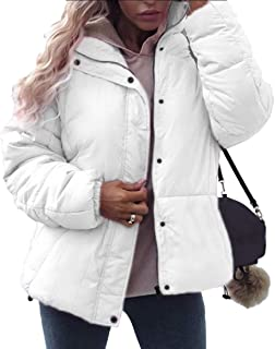 Women's Quilted Down Jacket Stand Collar Winter Button Coat Outerwear