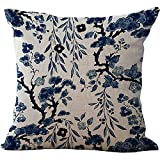 ChezMax Throw Pillow Covers Porcelain Cushion Cover Cotton Linen Chair Back Cushion Cover Classical Pillowslip Decorative Pillowcase for Sofa Couch Bed Chair 18X18 Chinese Flower
