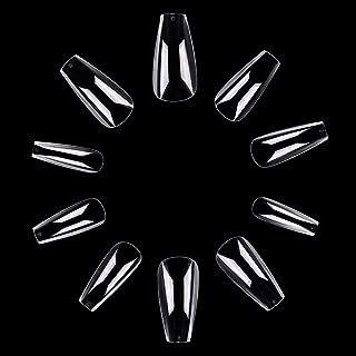 Makartt 500pcs Coffin Nails Medium Ballerina Nails Press on Nails False Nails Tips Clear Full Cover Acrylic Fake Nails 10 Sizes A-17
