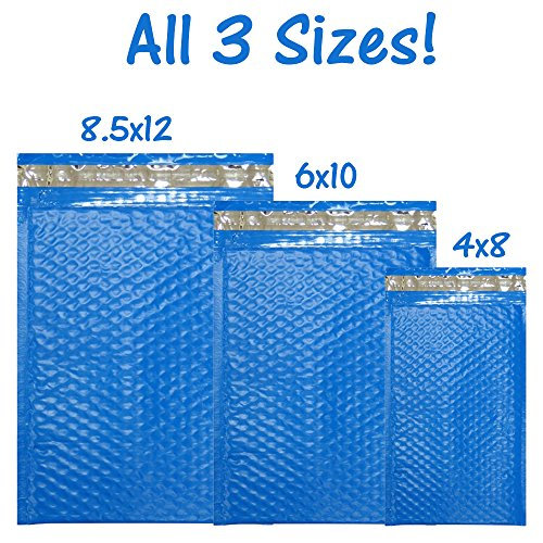 30 Assorted, 4x8, 6x10, 8x12 Inch Colored Poly Bubble Mailers, All 3 Sizes, Self Sealing Padded Envelopes With Kiss Lip stickers (Blue)