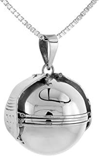 Sterling Silver 6 Picture Photo Ball Locket Necklace for Mothers & Grandmothers Handmade 3 Sizes