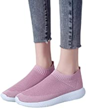 Women Walking Athletic Shoes Breathable Mesh Casual Sport Walking Running Knit Slip on Sneakers