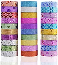 Yexpress Glitter Washi Masking Tape Set of 30 Rolls - Decorative Craft Tape Great for Arts, DIY and Scrapbook, Gift Wrapping, Masking Paper Decoration Tape