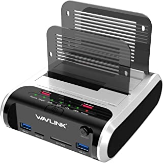 "WAVLINK [8-in-1] USB 3.0 to SATA I/II/III Dual Bay External Hard Drive Docking Station for 2.5""/3.5"" HDD/SSD Support Offli..."