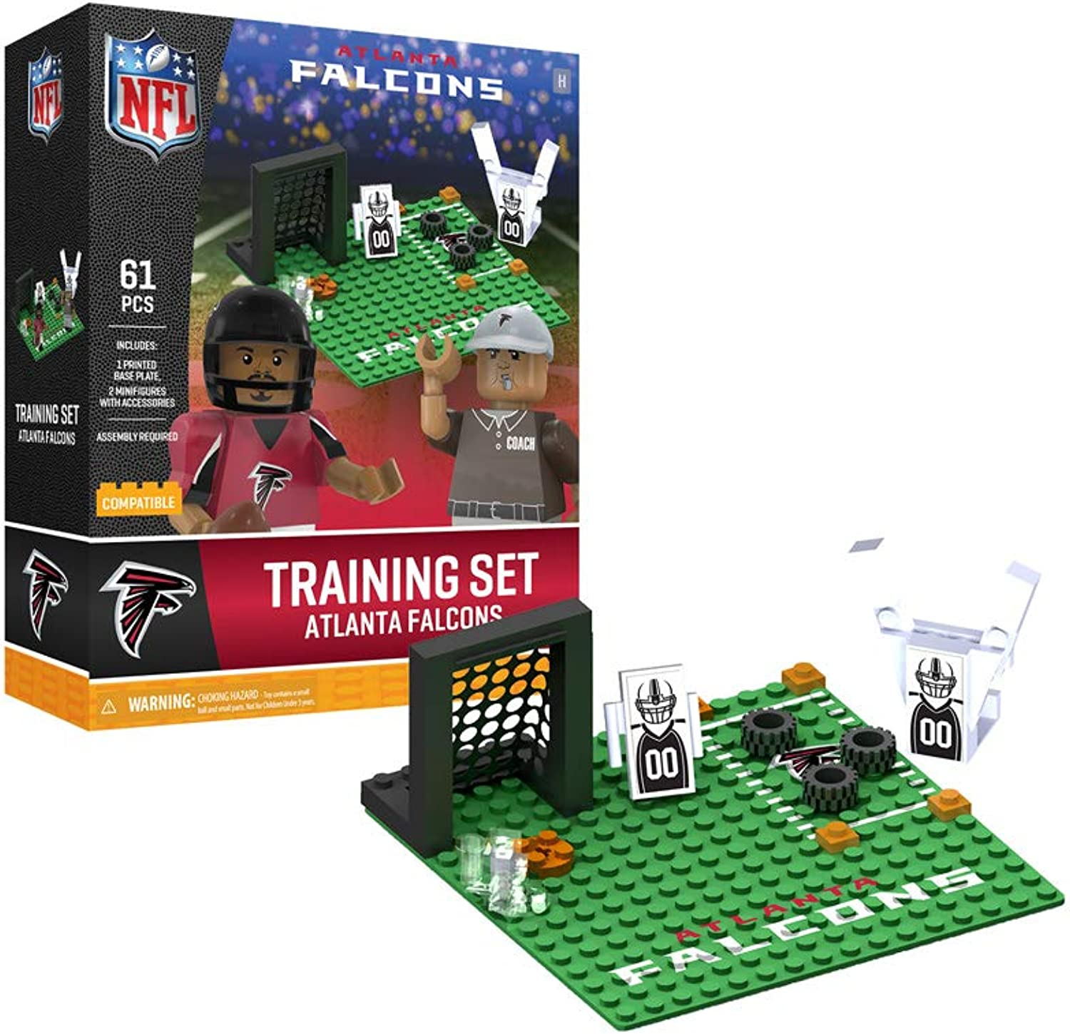 Oyo Sportstoys Atlanta Falcons Training Camp Set OYO Sports Toys with 2 Minifigure 106PCS PNFLATLPS1G4PS, Black Red, One Size