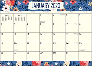 2020 Blue Floral Magnetic Refrigerator Calendar Pad by Bright Day, 16 Month 8 x 10 Inch, Flower Large Planner Office Wall