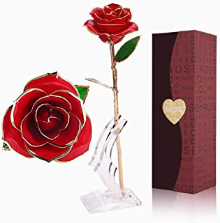 YINXN 24k Gold Rose, Red Gold Plated Rose 24k Gold Dipped Rose Everlasting Long Stem Real Rose with Exquisite Holder,Romantic Gift for Valentine's Day, Anniversary, Birthday and Mother's Day (Red)