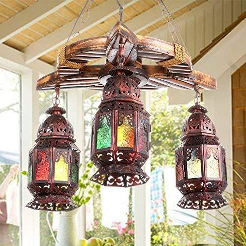 SGWH/Boheemse kroonluchter met drie koppen romantische café/bar/restaurant/creatief antieke lantaarn/turquoise kroonluchter