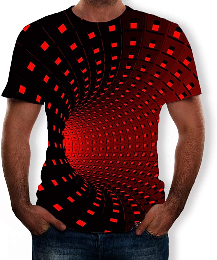 Bravetoshop Men's 3D Pattern Printed Summer Fashion Casual Short Sleeve T Shirts Top Tees for Man Women Novelty Ugly Christmas Sweater Sweatshirts Funny Colorful Xmas Novelty Pullovers Red
