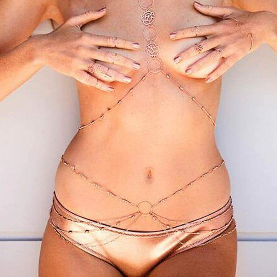 Yean Body Chain golden Crossover Waist Chain Layered Belly Chain Beach Harness Jewelry for Women and Girls