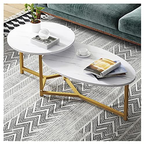 Mesas Auxiliares Mesa de cóctel resistente de mesa de café de 2 capas, utilizado en la sala de estar, dormitorio, sofá, mesita de té de mesa, estantería de almacenamiento abierto industrial Mesas de C