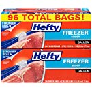 Hefty Slider Freezer Bags, Gallon Size, 4 Packs of 24 Count Each, 96 Count