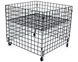 KC Store Fixtures 54100 Dump Bin, 36' x 36' x 30' High Grid Panels with Casters, Black