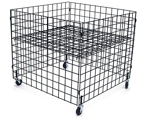 KC Store Fixtures 54100 Dump Bin, 36' x 36' x 30' High Grid Panels with Casters, Black