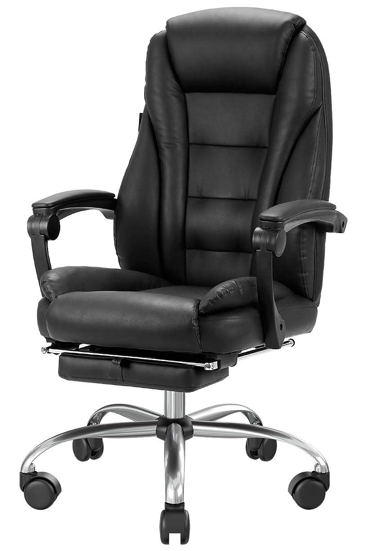 キャンパス祖母武器Hbada 椅子 オフィスチェア レザーチェア 社長椅子 ハイバック 肉厚クッション 135度リクライニング フットレスト付き 可動式アームレスト 昇降回転 スチール製ベース 静音キャスター