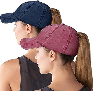 Women Ponytail Baseball Cap Messy Bun Vintage Washed Distressed Twill Plain Hat