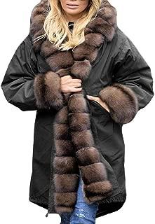 3XL Oversized Women Coat Winter Denim Thicken Lined Faux Fur Hood Jacket Warm Fashion Sherpa Fur Overcoat Outerwear
