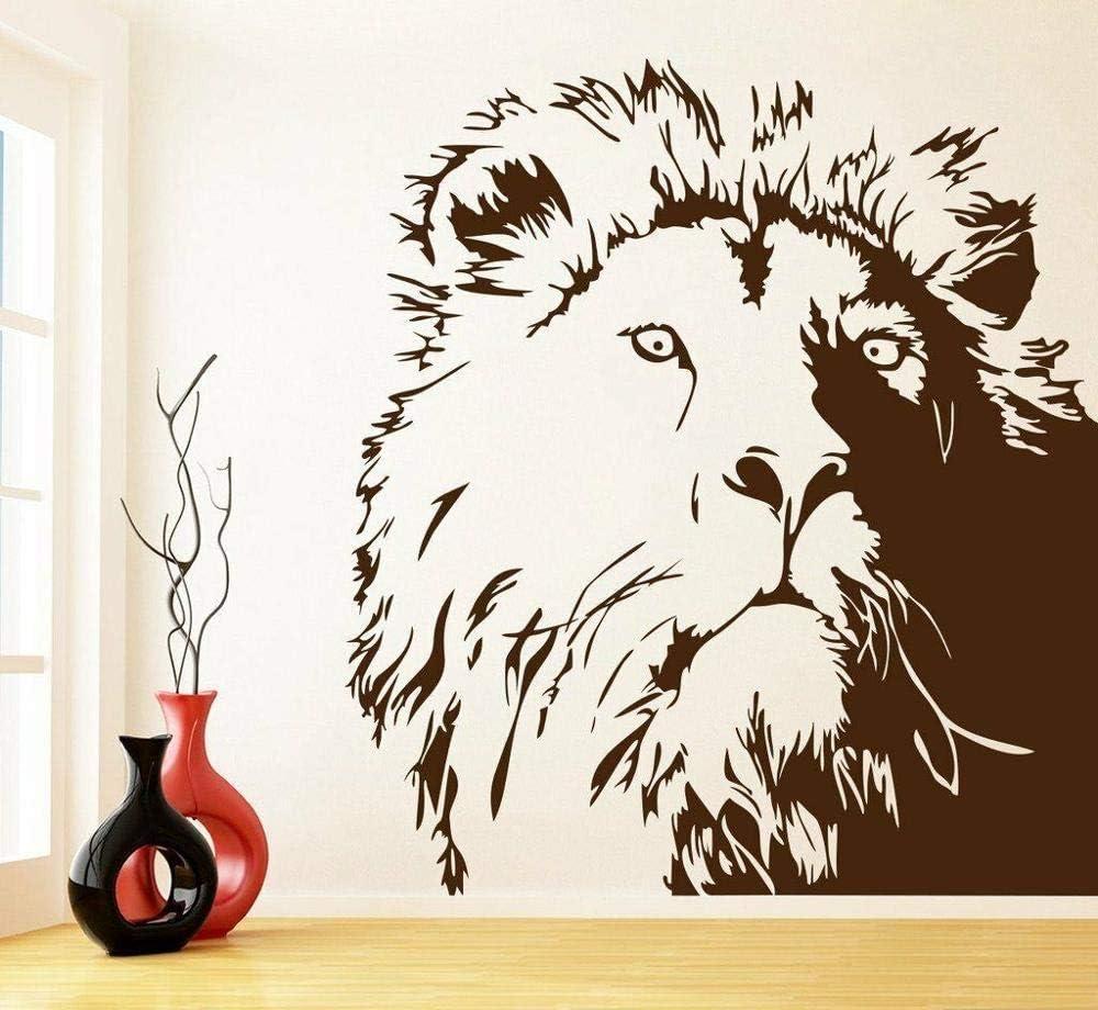 León pared calcomanía oficina estudio dormitorio sala de estar diseño de interiores decoración extraíble puerta ventana vinilo pegatina Animal pared arte 56x62cm