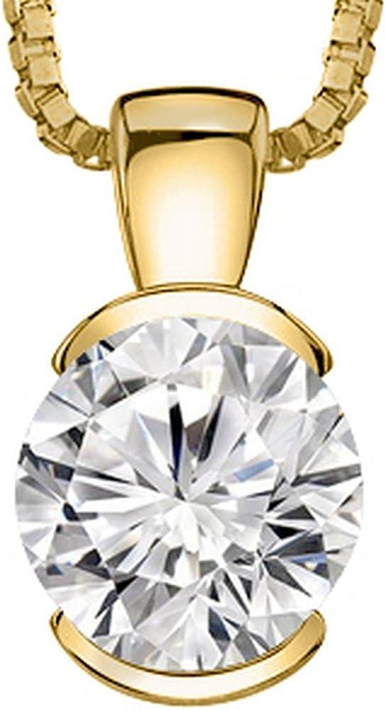 0.74 Carat Round Diamond Half Bezel Solitaire Pendant Necklace I-J Color I1 Clarity w/ 18