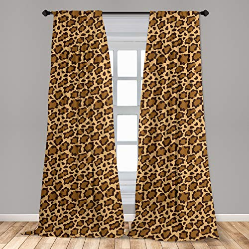 """Ambesonne Leopard Print Curtains, Rhythmic Altered Version of Panther Specie Big Cat Skin, Window Treatments 2 Panel Set for Living Room Bedroom Decor, 56"""" x 84"""", Brown Caramel"""