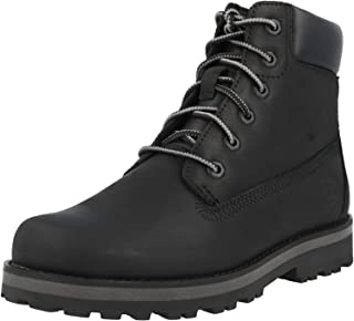 Timberland Courma Kid 6 Inch Side Zip J Black Full Grain Leather Junior Ankle Boots