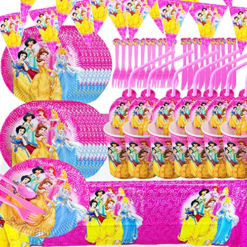 BAIBEI Princess Partyware Set Princess Birthday Party Tableware Set Belle Ariel Rapunzel Plates Cups Napkins Tablecover for 10 People