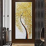 ganlanshu Abstracto Oro Dinero árbol Pared Arte Moderno Cartel Pintura Sala decoración Regalo decoración sin Marco Pintura 30 cm X 60 cm