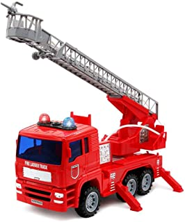 yoptote Fire Truck Engine Firetruck Toy Shoot Water with Sirens Lights & Sound Extending Ladder Truck Firefighter Car Rescue Play Vehicle Birthday Gift for 3 4 5 6 Years Old Girls Boys Todder Kid