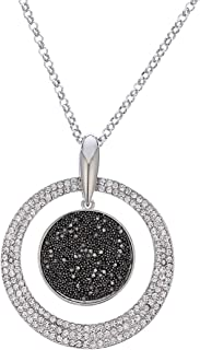Ouran Women's Pendant Necklace,Silver and Rose Gold Long Chain Necklace with Black Diamond and Crystal Personalized Neckla...