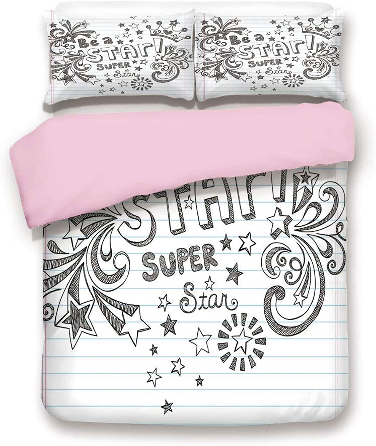 IPrint Pink Duvet Cover Set,Twin Size,Be A Super Star Phrase on Notebook Paper Backdrop with Stars Crown Print,Decorative 3 Piece Bedding Set with 2 Pillow Sham,Best Gift for Girls Women,Grey White