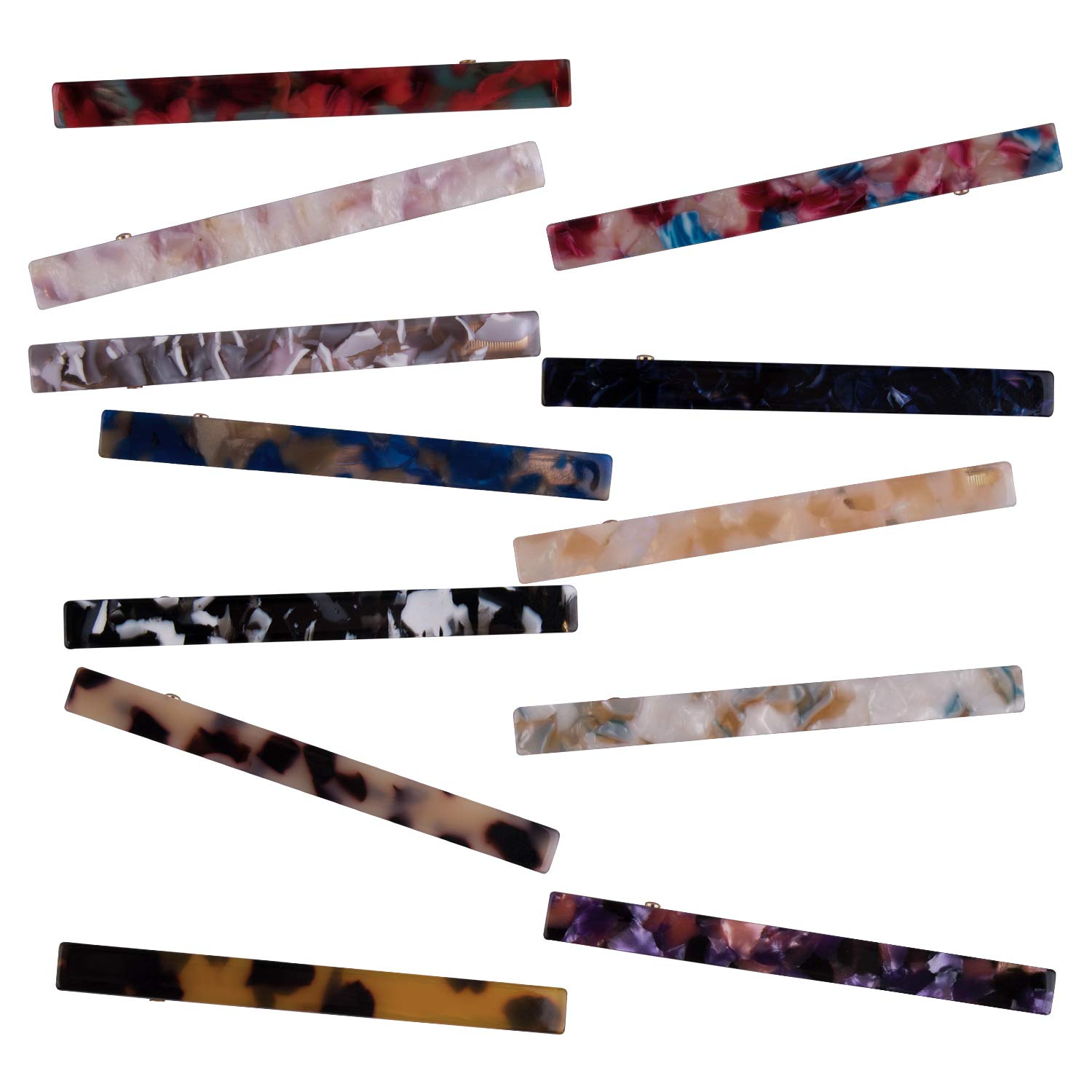 Duufin 12 Pieces Acrylic Hair Clips Resin Alligator Hair Clips Duckbill Hair Clips Elegant Barrettes for Women and Girls