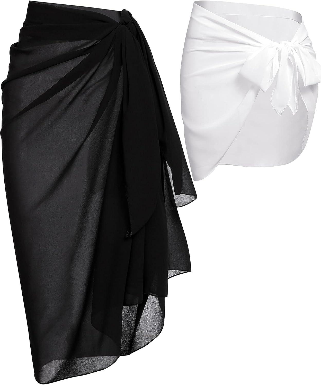 LOLLO VITA 2 Pieces Women Beach Sarong Sheer Wrap Skirt Chiffon Swimsuit Cover Up for Swimwear