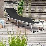Park Alley Sonnenliege mit Sonnendach, Gartenliege klappbar, schwarz - 5