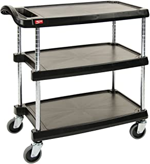 Metro Black Plastic 3-Shelf Utility Cart - 31 1/2