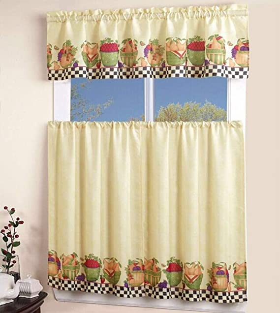 North Pole, 54 X 15 Valance, 2 Tiers 27 X 36 EHP 3 Piece Christmas Kitchen Curtain Tier /& Valance Set