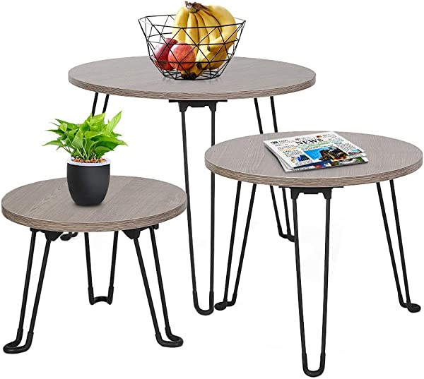 Ejoyous Nesting Tables 3 Pcs Multifunctional Modern Wooden Stacking Coffee Tables Portable End Side Tables Set Home Decor For Bedrooms Living Rooms Office Picnic Balcomy Brown