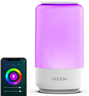 Smart Table Lamp, HugoAi Dimmable Bedside Lamps for Bedrooms, Works with Alexa and Google Home, LED Nightstand Lamp with S...