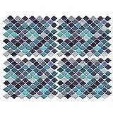Exnemel adhesivo para azulejos, azulejos de mosaico papel pintado para baño y cocina pvc decoración de azulejos en el baño (4 pcs)